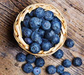blueberries in a little basket