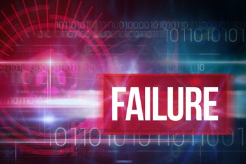 Failure against blue technology design with binary code