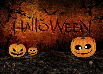 Halloween Festival with Brick Background