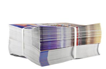 Pile of bundled magazines