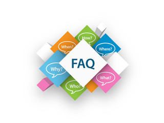 FAQ cubes (questions speech bubbles help service)