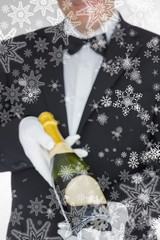 Composite image of waiter offering champagne