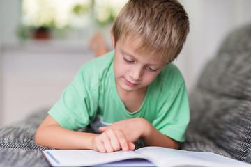 junge liest konzentriert ein buch