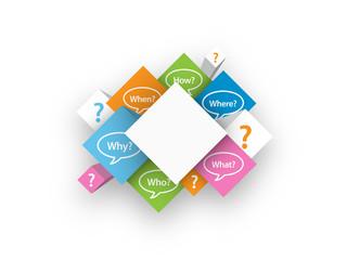 QUESTIONS cubes (FAQ speech bubbles help service)