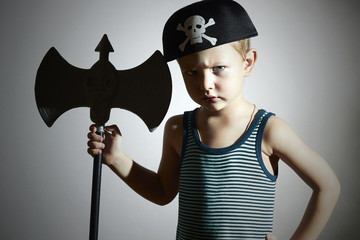 Little Boy in Carnival Costume.warrior.Pirate Child.Halloween