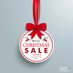 White Paper Bauble Red Ribbon