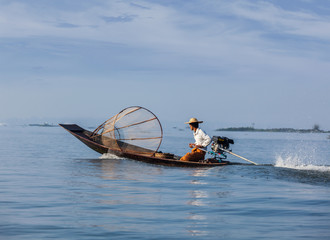 Traditional Burmese fisherman in Myanmar
