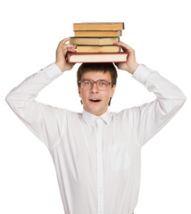 nerd in glasses holding books on head