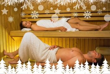 Calm couple relaxing in a sauna