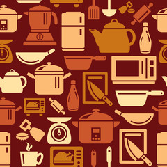 Kitchen Utensils and Appliances Icons in Seamless Background