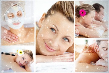 Collage of young people having relaxation treatments