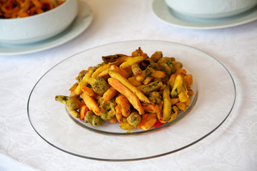 Vegetables covering with breadcrumbs