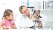 Composite image of veterinarian examining puppy with girl