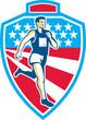 American Marathon Runner Running Shield Retro