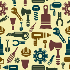 Construction Tools Icons in Seamless Background