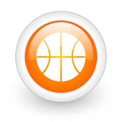 ball orange glossy web icon on white background.