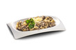 dish with potatoes and mushrooms