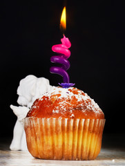 sweet muffin with candle