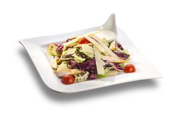 fresh salad with greens and vegetables