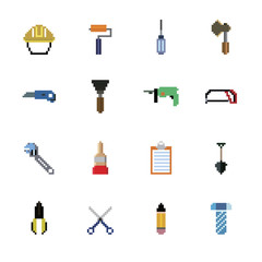 Construction Tools Pixel Icons