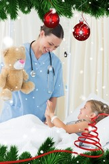 Playful doctor entertaining sick girl
