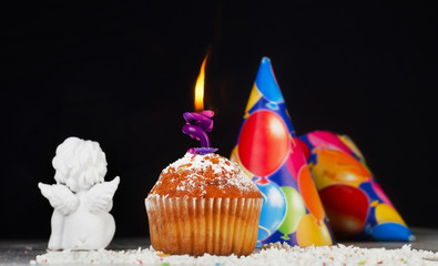 Biirthday muffin with candle