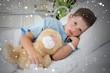 Little boy with teddy bear in hospital