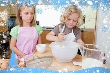 Composite image of young siblings preparing dough