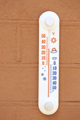 Thermometer on wall outside