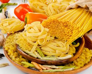 Variety types of Italian pasta.