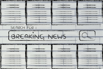 documents and search bar, looking for breaking news