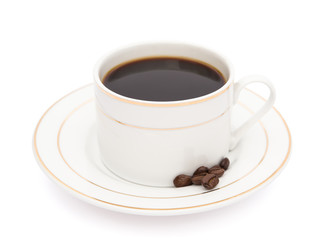 cup of coffee and coffee bean with clipping path