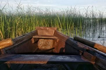 Old boat on riverside