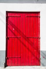 Old Red Doors with Metal Hinges