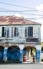 Shabby Blue Two Story Building