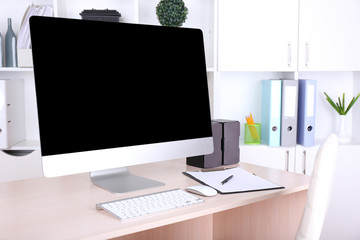 Office workplace with modern computer