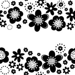 czarne kwiaty i kropki poziomy border na białym tle