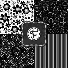 czarne kwiaty kropki paski zestaw deseni z retro ramką