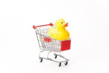 Caddy for shopping with duck