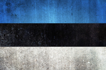 National flag of Estonia. Grungy effect.