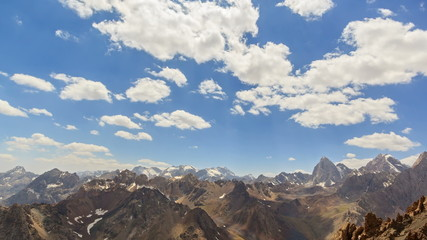 High mountains. Panorama. Time Lapse. Pamir, Tajikistan. 4K
