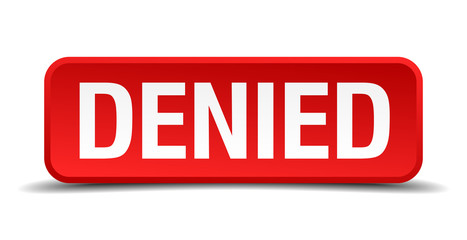 Denied red 3d square button isolated on white background