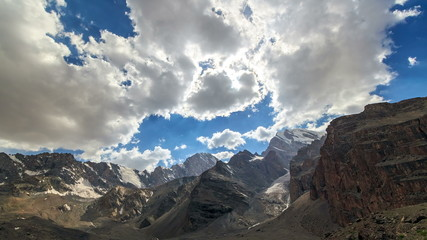 Mountain valley in the clouds. TimeLapse. Pamir, Tajikistan. 4K