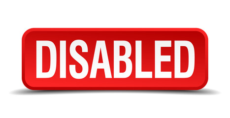 Disabled red 3d square button isolated on white background