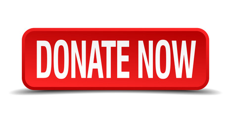Donate now red 3d square button isolated on white background