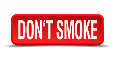 Dont smoke red 3d square button isolated on white background