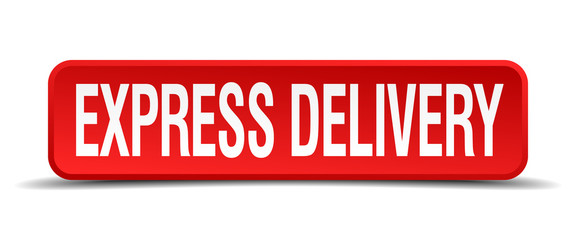 express delivery red 3d square button on white background