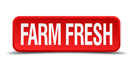 Farm fresh red 3d square button isolated on white background