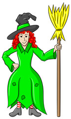 witch holding a broom on white background