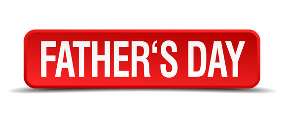 fathers day red 3d square button isolated on white background